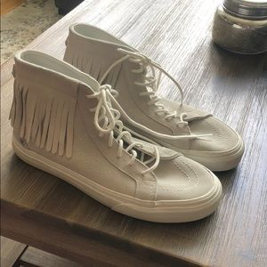 Vans light gray high top with fringe. Worn once!